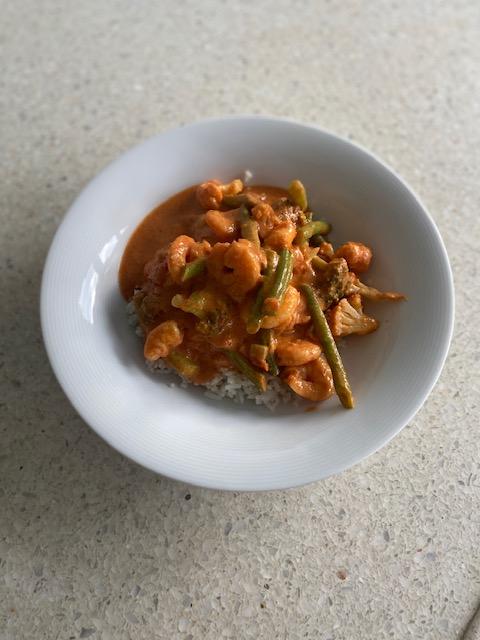 Curry met garnalen